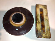 Vintage Large Waylande Gregory Pottery Cracked Brown Glass Blotter And Inkwell .