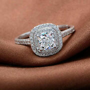 Cushion Cut 1.90 Ct Real Diamond Womens Rings 14k Solid White Gold Size M N O P