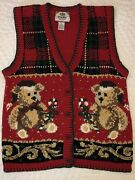 Vtg 1990s Not Ugly Red Christmas Bear Sweater Vest Petite Small Tiara Beaded Euc