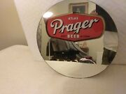 Atlas Prager Beer Sign Mirror Reverse Painted Brewing Chicago Illinois Brewery