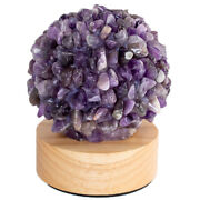 Led Desk Light Raw Natural Stone Crystal Amethyst Table Lamp Usb Charging Bedroo