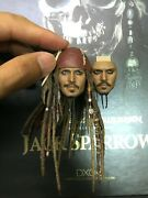 1/6 Hot Toys Dx06 Pirates Of The Caribbean Jack Sparrow Head Sculpt For Figure