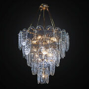 Chandelier Classic Gold With 60 Glass Murano Clear 8 Lights Bga 3019-60v