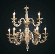 Chandelier Classic Wood And Wrought Iron Leaf Silver 9 Lights Bga 1798-63