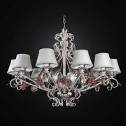 Chandelier Wrought Iron Ivory With Roses A 12 Lights Bga 2731-12 With Shades