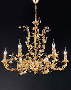 Chandelier A 6 Lights Wrought Iron Crystal Leaf Gold Coll.pre Art.ls135/6