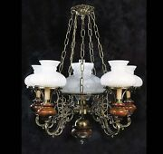 Chandelier Brass And Wood Classic 6 Lights Coll. Bga 823 Old America