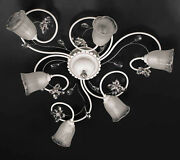 Ceiling Wrought Iron 6 Lights Modern Bianco-cromato Crystal Pre Pl158/6