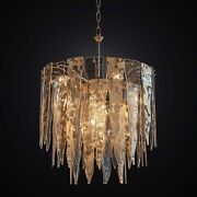 Chandelier Contemporary In Fused Glass Amber To 6 Lights Bga 2398/50