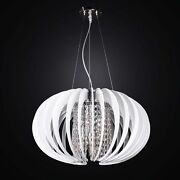 Modern Chandelier Glass Fusion And Crystal A 7 Lights D.50 Bga 2624/s50 White