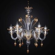 Chandelier Murano Original A 6 Lights Bga 2428/6 Classic Clear And Gold