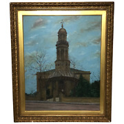 19th Century English Oil Painting View St Marys Church Banbury Oxfordshire