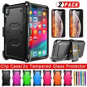 For Iphone Xr/xs Max Case Rugged Hard Armor Belt Clip Phone Cover/tempered Glass