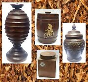 Lot Of 5 Old Wooden Treen Tabacco Jar Turning Boxes