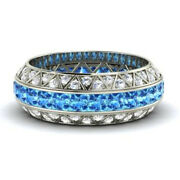 14k Real White Gold Natural Diamond 3.50ct Real Topaz Eternity Bands Size 7 6 5