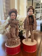 Two Early German Male And Female Companion/loofah Candy Containers-rare 1910