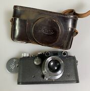 Leica Iiic K Gray Camera With 50mm F3.5 Elmar Lens Rare With Case