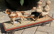 Rare German Pull Toy W/ Two Huebach Children On Sleigh Pulled By A Dog