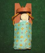 Antique Native American Indian Miniature Doll Papoose On Cradleboard