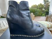 Black Lambskin Leather Gold Chain Around Wedge Ankle Boots Booties 41 11
