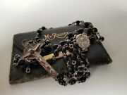 † High End Vintage Creed Sterling Rosary Necklace 21 + Leather Vtg Pouch †