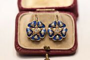 Victorian Style 14k Gold Russian Style New Made Enamel Natural Diamond Earring