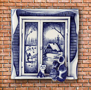 Gzhel Russian Porcelain Vintage Porcelain Wall Hanging Tile Cats On The Window