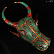 Collection Tibet Old Antique Pure Copper Inlaid With Gems Ox Head Wall Hanging