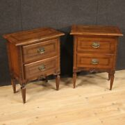 Pair Of Night Stands Furniture Bedside Tables In Wood Antique Style Louis Xvi
