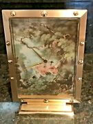 Antique French Painting Lithograph Luxor Bronze Swiss Mechanical Table Clock