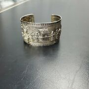 Antique Silver Chinese Wedding Repousse Scene Cuff Bracelet Tested Unmarked