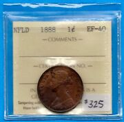 Canada Newfoundland 1888 1 Cent One Large Cent Coin - Iccs Ef-40