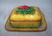 Old Majolica Pottery Basketweave Sardine Box And Underplate W Shell Decoration