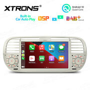 7 Android 10 2+32gb Car Gps Stereo Radio Head Unit For Fiat 500 2007-2015 Beige