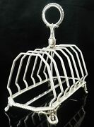 Large Antique Sterling Silver Toast Rack, Birmingham 1881, John Gilbert And Co