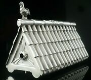 Novelty Portuguese Silver Chicken Coop Used Toothpick Holder, 20th Century