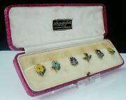 6 Cased Sterling Silver And Enamel Flower Cup Tokens Adolph Scott 1929 Amnora