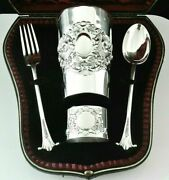 Cased Antique Sterling Silver Christening Set Josiah Williams And Co London 1898