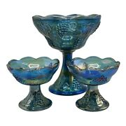 Carnival Glass Blue Harvest Grape Iridescent Indiana Bowl And 2 Candle Holders