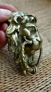 Vintage Solid Brass Lion Head Pull Ring Handle Knob Project Door Drawer Chair Bb
