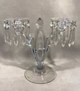 Pv05726 Vintage Clear Heisey 402 Gothic 2-light Candelabra W/ Bobeches And Prisms