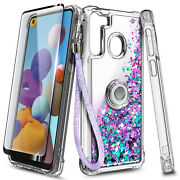 For Samsung Galaxy A11 A21 Case Glitter Ring Stand + Tempered Glass And Lanyard