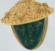 18k Gold Pendant Chinese Face Made Of Green Jade For Good Luck And Good Health