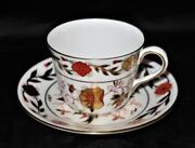 Royal Crown Derby Asian Rose 8687 Coffee Or Tea Cup And Saucer Rust And Navy Floral