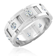 1.64 Ct Certified Diamond Wedding Mens Band 14k Solid White Gold Ring Size 7 8