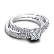 1.15 Ct Round Cut Real Diamond Wedding Band Sets 14k Solid White Gold Size 8 7 6