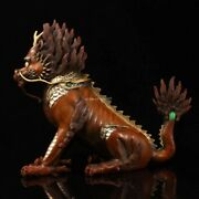 12and039and039 Bronze Red Coper Gold Silver Handmade Treasure Wealth Dragon Kylin Statue