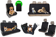Front Rear Bench Seat Covers For Dogs Pets Travel Car Truck Van Suv Auto