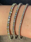 Tennis Bracelet Solid 925 Sterling Silver Single Row Diamond And Yellow Sapphire