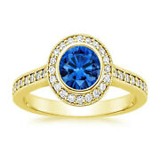Hallmarked 14k Yellow Gold 1.35 Ct Blue Sapphire Diamond Rings Valentineand039s Gift